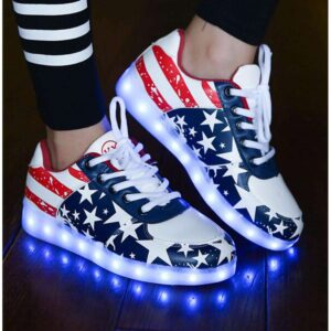 Unisex  LED Light Lace Up Luminous Shoes Sportswear Sneaker Unisex Blue American Flag Stars Casual Shoes