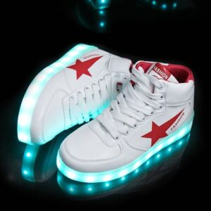 Women And Men Middle Shoe LED Lighting Couple Sneaker Red