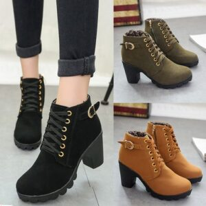 Women's Ladies Winter High Heel Ankle Martin Boots Zipper Buckle Platform Shoes